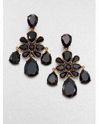 Oscar de la Renta - Black Faceted Chandelier Clip-On Earrings - Lyst