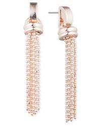 Anne Klein | Pink Rose Gold-tone Tassel Long Drop Earrings | Lyst