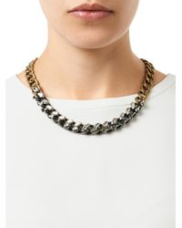 Lanvin - Metallic Susan Crystal and Chain Necklace - Lyst
