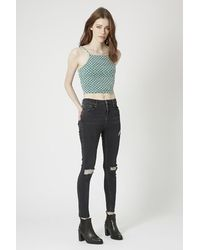 TOPSHOP | Green '90S Tile Print Cropped Cami | Lyst