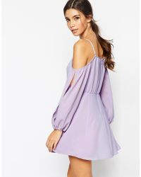 ASOS | Purple Petite Dress With Cold Shoulder And Split Sleeve | Lyst
