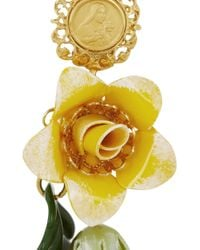 Dolce & Gabbana | Metallic Fiori Gold-Plated Swarovski Crystal Clip Earrings | Lyst
