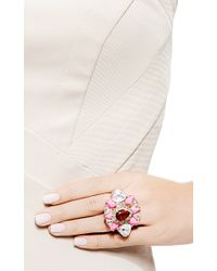 Shourouk | Galaxy Gold Plated Swarovski Crystal Ring in Pink | Lyst