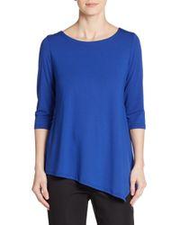 Eileen Fisher - Blue Stretch Jersey Asymmetrical Top - Lyst