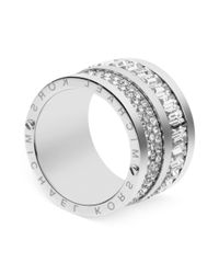 Michael Kors | Metallic Silvertone Pave and Baguette Crystal Barrel Ring | Lyst