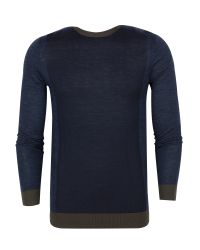 Ted Baker | Blue Lewcat Colour Bock Wool Jumper for Men | Lyst