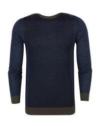 Ted Baker | Blue Lewcat Colour Bock Wool Jumper for Men | Lyst