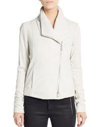 Vince - White Leather Scuba Jacket - Lyst