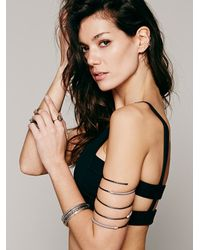 Nashelle | Gray Leather Bound Upper Arm Cuff | Lyst