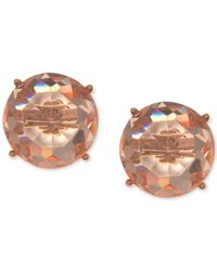 Anne Klein | Pink Gold-tone Faceted Rose Stone Stud Earrings | Lyst