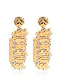 Versus | Metallic Rhinestones On Gold Plated Logo Earrings | Lyst
