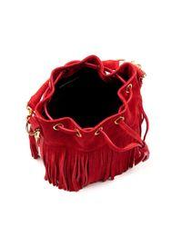 Saint Laurent | Red Emmanuelle Small Fringed Bucket Bag | Lyst