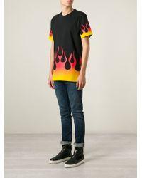 Love Moschino - Black Flames-Print T-Shirt for Men - Lyst