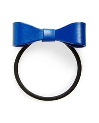 Tasha | Blue Leather Bow Ponytail Holder | Lyst