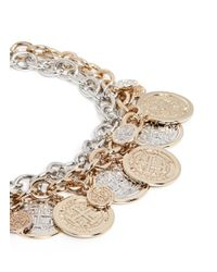 Kenneth Jay Lane | Metallic Double Tier Chain Medallion Necklace | Lyst