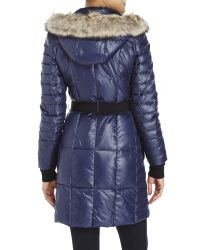 Marc New York | Blue Belted Real Fur Trim Down Coat | Lyst
