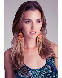 Bebe - Orange Fringe Statement Earrings - Lyst