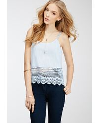 Forever 21 - Blue Crochet-trimmed Cami - Lyst