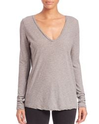 James Perse - Gray Long-sleeve Jersey Top - Lyst