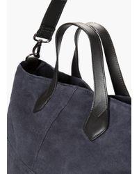 Mango - Blue Suede Shopper Bag - Lyst