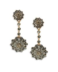 Oscar de la Renta | Metallic Crystal Jeweled Drop Earrings Crystal Jeweled Drop Earrings | Lyst