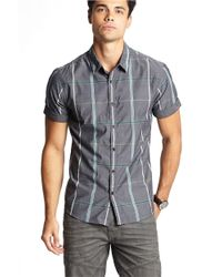 Guess | Black Reef Windowpane Check Sportshirt for Men | Lyst