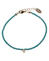 Orelia - Blue Semi Precious Stone Beaded Tiny Star Pendant Bracelet - Lyst