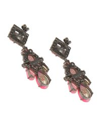 Shourouk | Pink Gunmetal-tone Crystal Earrings | Lyst