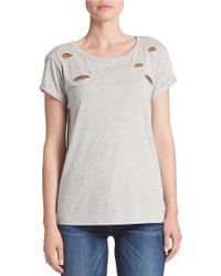 Guess | Gray Embellished Peek-through Tee | Lyst
