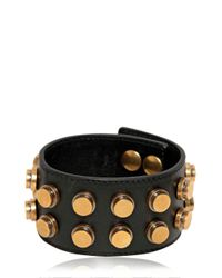 Saint Laurent | Metallic Studded Leather Large Cuff Bracelet | Lyst