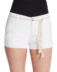 Michael Stars - White Linen Tie Shorts - Lyst