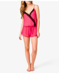 Forever 21 | Pink Lace Trimmed Pj Romper You've Been Added To The Waitlist | Lyst