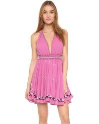 LoveShackFancy - Pink String Halter Cover Up Dress - Lyst