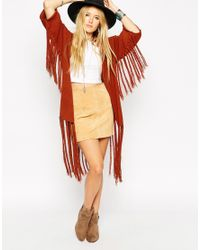 ASOS - Brown Slub Knit Kimono Cardigan With Fringing - Lyst