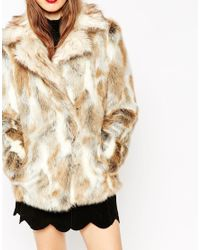 ASOS - Natural Coat In Faux Rabbit Fur With Contrast Collar - Lyst