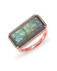 Anne Sisteron - Pink 14kt Rose Gold Labradorite Diamond Long Rectangle Cocktail Ring - Lyst
