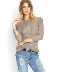Forever 21 - Brown Heathered Dolman Top - Lyst