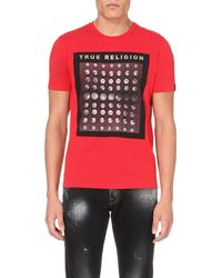 True Religion | Red Button And Rivet Cotton-jersey T-shirt for Men | Lyst