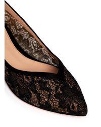 Gianvito Rossi | Black Suede Trim Lace Skimmer Flats | Lyst
