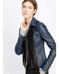 Vince - Black Colorblocked Leather Moto Jacket - Lyst