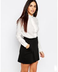 Warehouse - White Clean Ruffle Shirt - Lyst