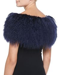 Pologeorgis | Blue Fur Scarf W/leather Fringe | Lyst