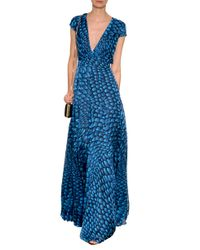 Issa - Blue Printed Silk Gown - Lyst
