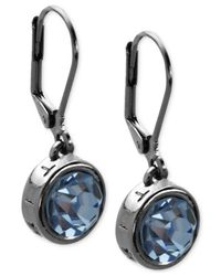 T Tahari - Blue Hematite-tone Essential Signature Drop Earrings - Lyst