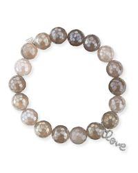 Sydney Evan | Natural Potato Pearl White Medium Black Diamond Horn Bracelet | Lyst