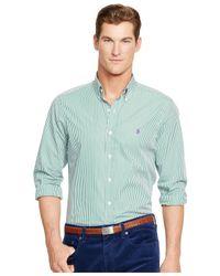 Polo Ralph Lauren   Green Striped Poplin Shirt for Men   Lyst