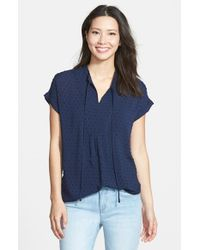 Pleione | Blue Textured Short Sleeve Peasant Top | Lyst