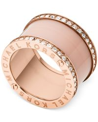 Michael Kors | Pink Rose Gold-Tone Barrel Ring | Lyst