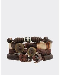 ASOS - Leather Bracelet Pack In Brown With Orange Hints for Men - Lyst