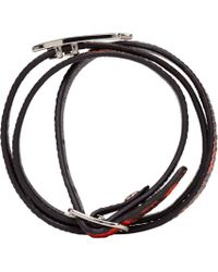 McQ - Red Snake Print Swallow Charm Wrap Bracelet - Lyst